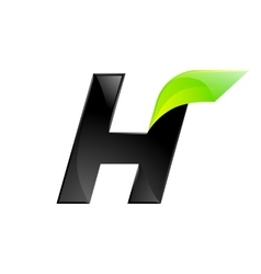 H letter black and green logo design fast speed vector