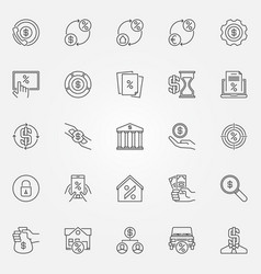 Leasing and loan icons set vector