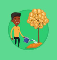 Man watering financial tree vector
