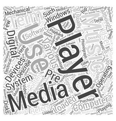 Media player word cloud concept vector