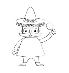 Mexican man with maraca and traditional costume vector