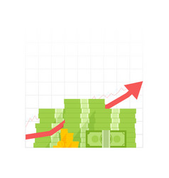 Money growth icon pile dollar and gold coins with vector