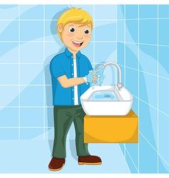 Of a little boy washing his ha vector