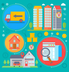 Real estate design concept set with sale vector