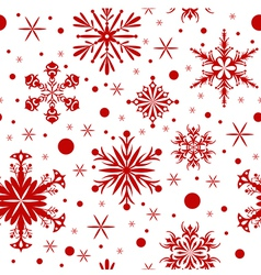 Red christmas seamless background with snowflakes vector image vector image