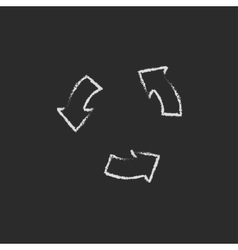 Replay button icon drawn in chalk vector image vector image