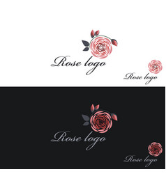 rose logo clipart white and black vector image