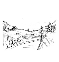 Rough draft of small georgian town street vector