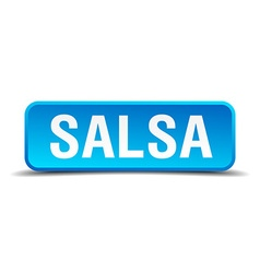 Salsa blue 3d realistic square isolated button vector image vector image