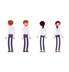 Set of male and female clerk standing rear front vector