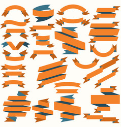 set of orange and blue flat ribbons vector image