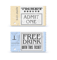 Set of retro cinema tickets or event shape with vector