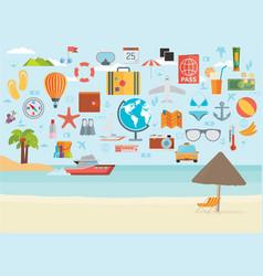 travel vacation flat design set concept travel vector image