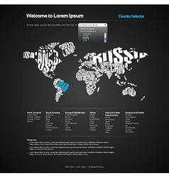 Website Design Template with World Map vector image