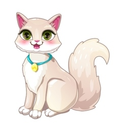 Cute cartoon pretty white girl cat vector image