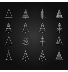 fir set of 16 different christmas trees vector image