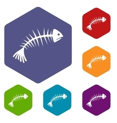 Fish bones icons set vector