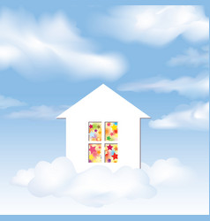 Party house dream concept blue sky with clouds vector