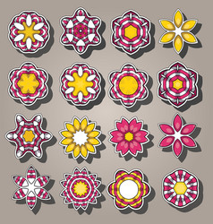 Set of cartoon colored flowers in flat style vector
