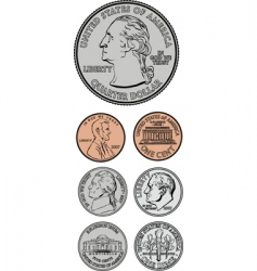 Coinage set vector