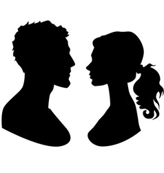 Man and woman faces silhouette vector
