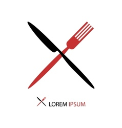 Crossed black and red flatware vector