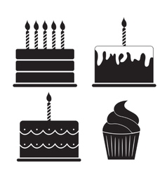 Birthday cake silhouette set vector