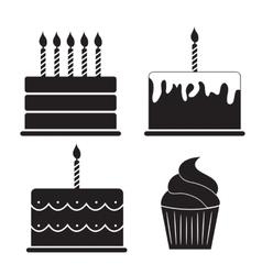 Birthday Cake Silhouette Set vector image