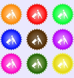 Loader icon sign a set of nine different colored vector
