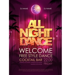 Typography disco background disco poster all nigh vector