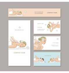 Business cards design women in spa saloon vector
