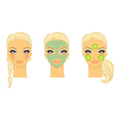 Womans front face care vector