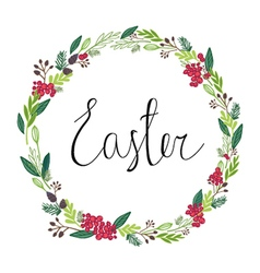 Happy easter greeting card with flowers vector