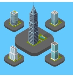 Isometric building set isolated vector