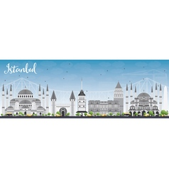 Istanbul skyline with gray landmarks vector