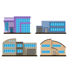 Set of flat houses vector
