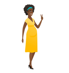 African pregnant woman showing victory gesture vector