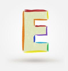 Alphabet letter e watercolor paint design element vector