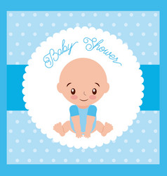 baby shower boy greeting card blue background vector image