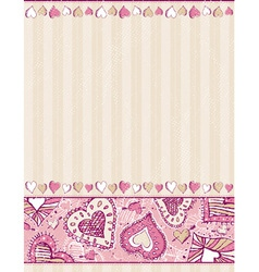 Beige valentine background with hand draw hearts vector