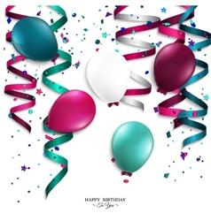 Birthday card with curling stream confetti vector