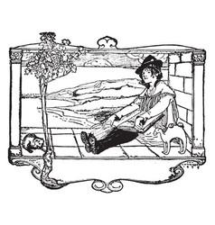 Bookplate badge vintage engraving vector