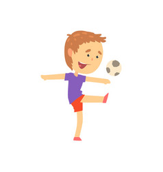 boy playing playing soccer kids physical activity vector image