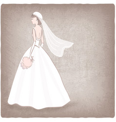 Bride in wedding dress old background vector