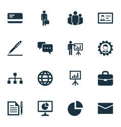 Business icons set collection of group earth vector