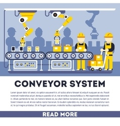 Conveyor system with manipulators flat vector