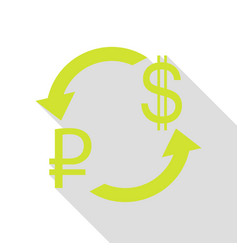 Currency exchange sign rouble and us dollar pear vector