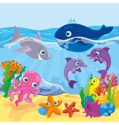 Cute Cartoon Marine Inhabitants vector image