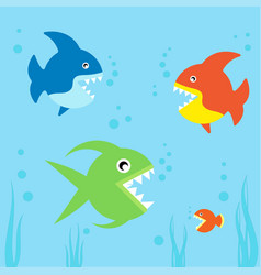 cute fishes collection vector image vector image