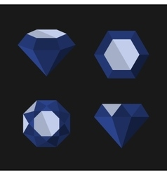 Dark Blue Diamond Icons Set vector image